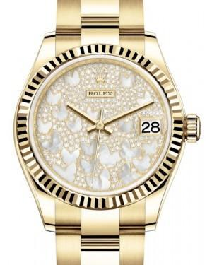 Rolex Datejust 31 Lady Midsize Yellow Gold Diamond Pave Mother of Pearl Butterfly Dial & Fluted Bezel Oyster Bracelet 278278 - Luxury Time NYC INC