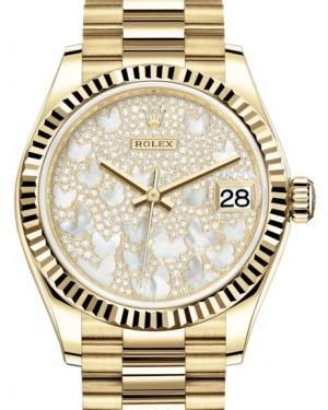 Rolex Datejust 31 Lady Midsize Yellow Gold Diamond Pave Mother of Pearl Butterfly Dial & Fluted Bezel President Bracelet 278278 - Luxury Time NYC INC