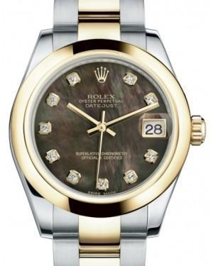 Rolex Datejust 31 Lady Midsize Yellow Gold/Steel Black Mother of Pearl Diamond Dial & Smooth Domed Bezel Oyster Bracelet 178243
