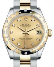 Load image into Gallery viewer, Rolex Datejust 31 Lady Midsize Yellow Gold/Steel Champagne Diamond Dial & Diamond Set Domed Bezel Oyster Bracelet 178343 - Luxury Time NYC INC
