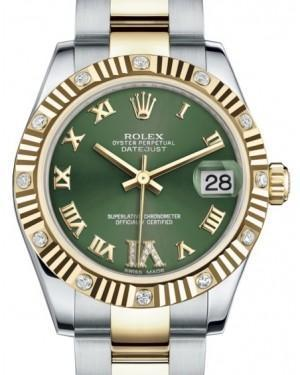 Rolex Datejust 31 Lady Midsize Yellow Gold/Steel Olive Green Roman Diamond VI Dial & Diamond Set Fluted Bezel Oyster Bracelet 178313 - Luxury Time NYC INC