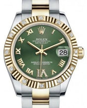 Load image into Gallery viewer, Rolex Datejust 31 Lady Midsize Yellow Gold/Steel Olive Green Roman Diamond VI Dial & Diamond Set Fluted Bezel Oyster Bracelet 178313 - Luxury Time NYC INC