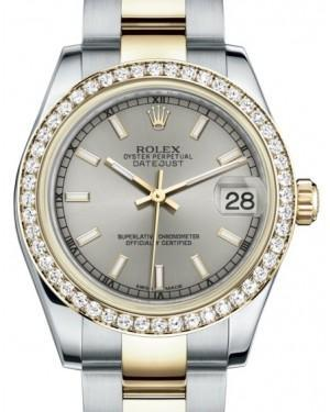 Rolex Datejust 31 Lady Midsize Yellow Gold/Steel Silver Index Dial & Diamond Bezel Oyster Bracelet 178383 - Luxury Time NYC INC