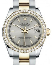 Load image into Gallery viewer, Rolex Datejust 31 Lady Midsize Yellow Gold/Steel Silver Index Dial & Diamond Bezel Oyster Bracelet 178383 - Luxury Time NYC INC