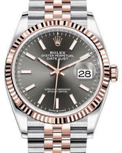 Load image into Gallery viewer, Rolex Datejust 36 Rose Gold/Steel Dark Rhodium Index Dial & Fluted Bezel Jubilee Bracelet 126231