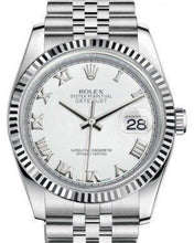 Load image into Gallery viewer, Rolex Datejust 36 White Gold/Steel White Roman Dial & Fluted Bezel Jubilee Bracelet 116234
