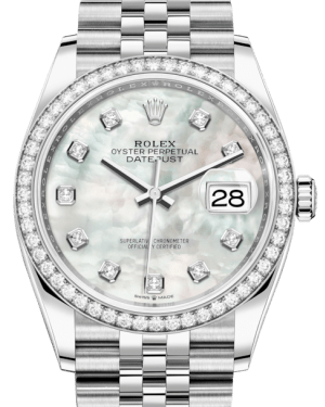 Rolex Datejust 36 White Gold/Steel White Mother of Pearl Diamond Dial & Diamond Bezel Jubilee Bracelet 126284RBR - Luxury Time NYC INC