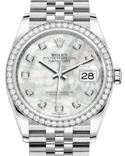 Load image into Gallery viewer, Rolex Datejust 36 White Gold/Steel White Mother of Pearl Diamond Dial & Diamond Bezel Jubilee Bracelet 126284RBR - Luxury Time NYC INC