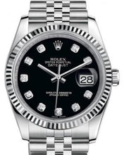 Load image into Gallery viewer, Rolex Datejust 36 White Gold/Steel Black Diamond Dial & Fluted Bezel Jubilee Bracelet 116234