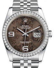 Load image into Gallery viewer, Rolex Datejust 36 White Gold/Steel Bronze Floral Motif Arabic Dial & Diamond Bezel Jubilee Bracelet 116244 - Luxury Time NYC INC