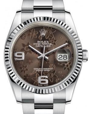 Rolex Datejust 36 White Gold/Steel Bronze Floral Motif Arabic Dial & Fluted Bezel Oyster Bracelet 116234 - Luxury Time NYC INC
