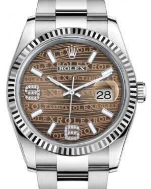 Rolex Datejust 36 White Gold/Steel Bronze Waves Diamond Dial & Fluted Bezel Oyster Bracelet 116234 - Luxury Time NYC INC