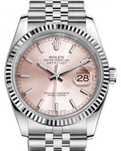 Load image into Gallery viewer, Rolex Datejust 36 White Gold/Steel Pink Index Dial & Fluted Bezel Jubilee Bracelet 116234