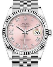 Load image into Gallery viewer, Rolex Datejust 36 White Gold/Steel Pink Roman & Diamond Dial & Fluted Bezel Jubilee Bracelet 126234