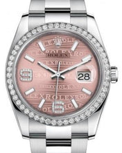 Load image into Gallery viewer, Rolex Datejust 36 White Gold/Steel Pink Waves Diamond Dial & Diamond Bezel Oyster Bracelet 116244