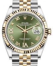 Load image into Gallery viewer, Rolex Datejust 36 Yellow Gold/Steel Olive Green Roman Diamond VI Dial & Fluted Bezel Jubilee Bracelet 126233 - Luxury Time NYC INC