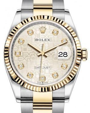 Rolex Datejust 36 Yellow Gold/Steel Silver Jubilee Diamond Dial & Fluted Bezel Oyster Bracelet 126233 - Luxury Time NYC INC