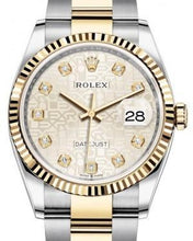 Load image into Gallery viewer, Rolex Datejust 36 Yellow Gold/Steel Silver Jubilee Diamond Dial & Fluted Bezel Oyster Bracelet 126233 - Luxury Time NYC INC