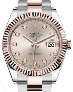 Rolex Datejust 41 Rose Gold/Steel Sundust Diamond Dial Fluted Bezel Oyster Bracelet 126331 -