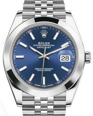 Rolex Datejust 41 Stainless Steel Blue Index Dial Smooth Bezel Jubilee Bracelet 126300 - Luxury Time NYC INC