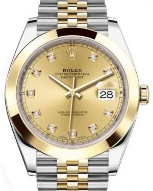 Rolex Datejust 41 Yellow Gold/Steel Champagne Diamond Dial Smooth Bezel Jubilee Bracelet 126303