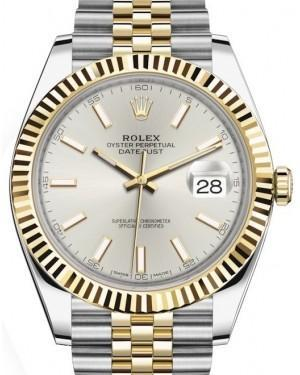 Rolex Datejust 41 Yellow Gold/Steel Silver Index Dial Fluted Bezel Jubilee Bracelet 126333