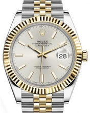Load image into Gallery viewer, Rolex Datejust 41 Yellow Gold/Steel Silver Index Dial Fluted Bezel Jubilee Bracelet 126333