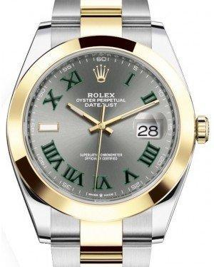 Rolex Datejust 41 Yellow Gold/Steel Slate Roman Dial Smooth Bezel Oyster Bracelet 126303 - Luxury Time NYC INC