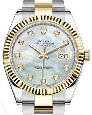 Rolex Datejust 41 Yellow Gold/Steel White Mother of Pearl Diamond Dial Fluted Bezel Oyster Bracelet 126333