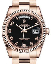 Load image into Gallery viewer, Rolex Day-Date 36 Rose Gold Black Arabic Dial & Fluted Bezel Oyster Bracelet 118235
