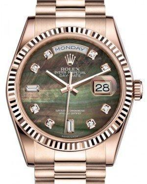 Rolex Day-Date 36 Rose Gold Black Mother of Pearl Diamond Dial & Fluted Bezel President Bracelet 118235