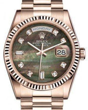 Load image into Gallery viewer, Rolex Day-Date 36 Rose Gold Black Mother of Pearl Diamond Dial & Fluted Bezel President Bracelet 118235