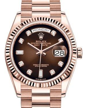 Rolex Day-Date 36 Rose Gold Brown Ombre Diamond Dial & Fluted Bezel President Bracelet 128235 - Luxury Time NYC INC