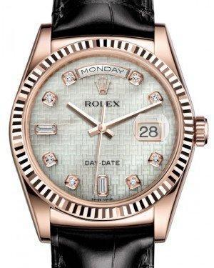 Rolex Day-Date 36 Rose Gold White Mother of Pearl with Oxford Motif Diamond Dial & Fluted Bezel Black Leather Strap 118135