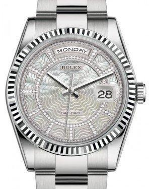 Rolex Day-Date 36 White Gold Carousel of White Mother of Pearl Diamond Dial & Fluted Bezel Oyster Bracelet 118239