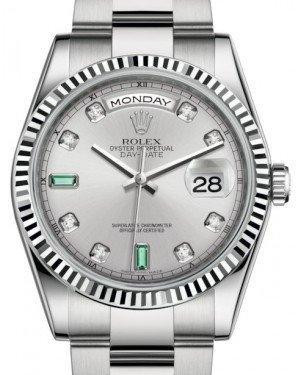 Rolex Day-Date 36 White Gold Rhodium Diamond & Emeralds Dial & Fluted Bezel Oyster Bracelet 118239 - Luxury Time NYC INC
