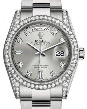 Rolex Day-Date 36 White Gold Silver Diamond Dial & Diamond Set Case & Bezel Oyster Bracelet 118389 - Luxury Time NYC INC