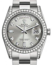 Load image into Gallery viewer, Rolex Day-Date 36 White Gold Silver Diamond Dial & Diamond Set Case & Bezel Oyster Bracelet 118389 - Luxury Time NYC INC
