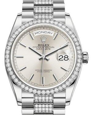 Rolex Day-Date 36 White Gold Silver Index Dial & Diamond Bezel Diamond Set President Bracelet 128239RBR - Luxury Time NYC INC