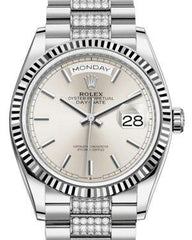 Rolex Day-Date 36 White Gold Silver Index Dial & Fluted Bezel Diamond Set President Bracelet 128239 - Luxury Time NYC INC