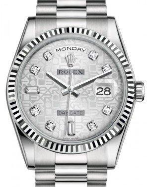 Rolex Day-Date 36 White Gold Silver Jubilee Diamond Dial & Fluted Bezel President Bracelet 118239 - Luxury Time NYC INC