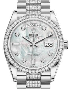 Rolex Day-Date 36 White Gold White Mother of Pearl Diamond Dial & Diamond Bezel Diamond Set President Bracelet 128239RBR - Luxury Time NYC INC