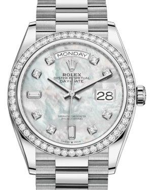 Rolex Day-Date 36 White Gold White Mother of Pearl Diamond Dial & Diamond Bezel President Bracelet 128239RBR - Luxury Time NYC INC