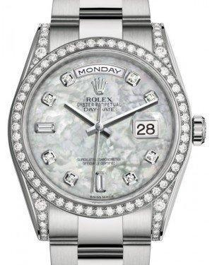 Rolex Day-Date 36 White Gold White Mother of Pearl Diamond Dial & Diamond Set Case & Bezel Oyster Bracelet 118389 - Luxury Time NYC INC
