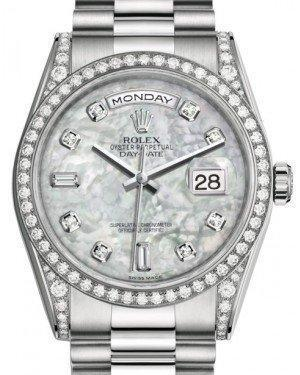 Rolex Day-Date 36 White Gold White Mother of Pearl Diamond Dial & Diamond Set Case & Bezel President Bracelet 118389 - Luxury Time NYC INC