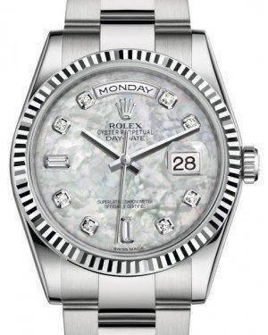 Rolex Day-Date 36 White Gold White Mother of Pearl Diamond Dial & Fluted Bezel Oyster Bracelet 118239 - Luxury Time NYC INC