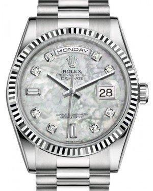 Rolex Day-Date 36 White Gold White Mother of Pearl Diamond Dial & Fluted Bezel President Bracelet 118239 - Luxury Time NYC INC