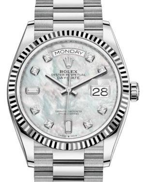 Rolex Day-Date 36 White Gold White Mother of Pearl Diamond Dial & Fluted Bezel President Bracelet 128239 - Luxury Time NYC INC