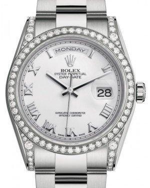 Rolex Day-Date 36 White Gold White Roman Dial & Diamond Set Case & Bezel Oyster Bracelet 118389 - Luxury Time NYC INC