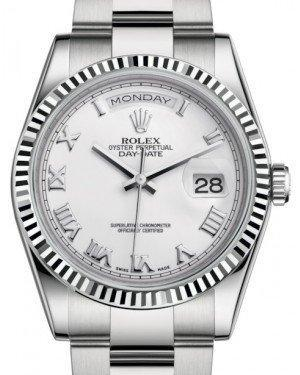 Rolex Day-Date 36 White Gold White Roman Dial & Fluted Bezel Oyster Bracelet 118239 - Luxury Time NYC INC